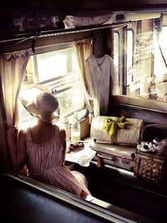 "Looking through the windows of the Orient Express. ""We travel, some of us forever, to seek other states, other lives, other souls."" (via Orient Express) Simplon Orient Express, Slow Travel, Time Travel, Advanced Style, Looks Vintage, Vintage Style, Retro Style, Vintage Ladies, Train Travel"