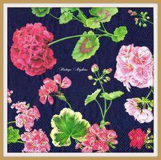 2 PAPER NAPKINS for DECOUPAGE - Pink Geranium Pelargonium Dark Blue Pattern #391 by VintageNapkins on Etsy