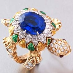 Vintage Tiffany & Co. 5.80cts Gold Diamond Sapphire Turtle Ring