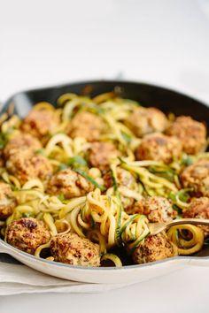 Thai Chicken Meatballs with Zucchini Noodles