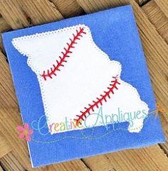 Missouri Baseball Applique - 4 Sizes! | What's New | Machine Embroidery Designs | SWAKembroidery.com Creative Appliques