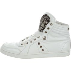 Pre-owned Gucci Patent Leather High-Top Sneakers ($225) ❤ liked on Polyvore featuring men's fashion, men's shoes, men's sneakers, white, mens high top shoes, mens patent leather shoes, gucci mens shoes, mens hi tops and mens high tops