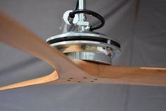 Antonov ceiling fan in Polished aluminum finish with Solid wood carved propeller blades Designer Fans, Contemporary Design, Modern Design, Survival Tools, Custom Wood, Windmill, Solid Wood, Led, Metal