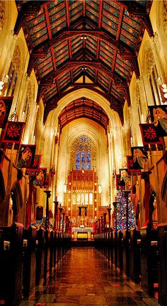 """Trinity Lutheran Vertorama"" by Kristina Austin Scarcelli.  Vertorama of the Christmas display at Historic Trinity Lutheran Church in Detroit, Michigan."