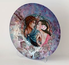 Decorative Plate-Lovely Wedding Gift Valentines day gift (Decoupage Under Glass )