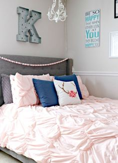 Teen Girlu0027s Bedroom Makeover With Navy Blue, Grey And Blush Pink Touches  Blue Teen Girl