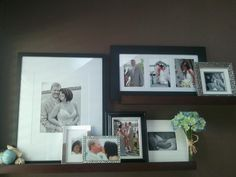 This is a collage of my fave pics from my son's wedding using two of the Pottery Barn's Holman picture ledges.  It's my most favorite wall decor idea!