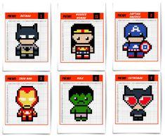 Pixel-Art-superheros-couv-2 Pixel Art Minecraft, Minecraft Templates, Pixel Art Templates, Skins Minecraft, Iron Man, Spiderman Pixel Art, Batman, Pixel Art Super Heros, Image Pixel Art
