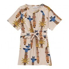 Multi-Coloured Organic Cotton Totem Dress Beige  Mini Rodini