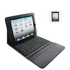 Black Leather Case + Wireless Keyboard for iPad 2 and new iPad 3