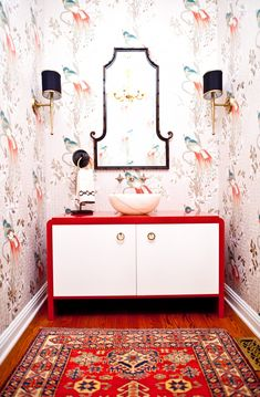 Red and black chinoiserie bathroom