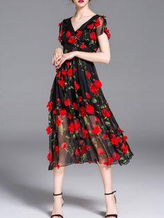 Black V Neck Flowers Applique Dress -SheIn(abaday)