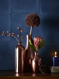 1000 images about deko und diy in metallic on pinterest deko trends and copper accessories. Black Bedroom Furniture Sets. Home Design Ideas