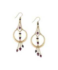 Another great find on #zulily! Gold & Purple Beaded Hoop Drop Earrings by The Sak #zulilyfinds
