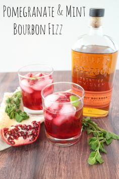 Pomegranate and Mint Bourbon Fizz Nothing screams Christmas like a red and green cocktail! This Pomegranate & Mint Bourbon Fizz is sure to be a hit at your holiday parties.