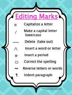 "FREE ""Writer's Workshop Editing Marks Poster"" #FreeLesson #TeachersPayTeachers #TPT #LanguageArts #Primary ""Teach""spiration"