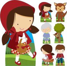 kit 7  totem display chapeuzinho vermelho decora aniversário