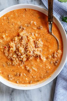 Cauliflower Beef Cream Cheese Soup Hearty and melt-in-your-mouth youll enjoy every spoonful of this cauliflower beef cream cheese soup! It is loaded with good-for-you ingredients such as ground . Casserole Recipes, Soup Recipes, Keto Recipes, Chicken Recipes, Dinner Recipes, Cooking Recipes, Snack Recipes, Bariatric Recipes, Bean Casserole