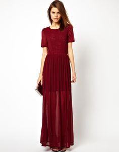 ASOS Mesh And Lace Maxi, deep red bridesmaid dress.
