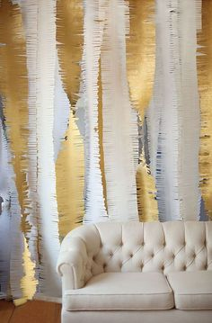 fringe crepe paper backdrop | gold + white | 100 Layer Cakelet