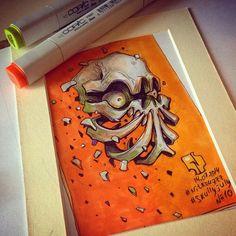 Creative skull illustration made by Russian illustrator artist Andrey Pridybaylo. The Skull design illustration is a part of series entitled Skully July Graffiti Doodles, Graffiti Artwork, Dark Art Drawings, Skull Drawings, Skull Illustration, Street Art, Arte Horror, Airbrush Art, Inspirational Artwork