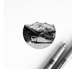 Pen art, drawings of mountains, painting & drawing, road drawing, mount Dotted Drawings, Ink Drawings, Art Et Design, Graphic Design, Montain Tattoo, Stylo Art, Stippling Art, Art Watercolor, Pointillism