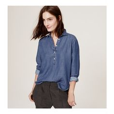 LOFT Petite Back Pleat Chambray Softened Shirt ($60) ❤ liked on Polyvore featuring tops, shadow blue chambray, chambray shirt, button down collar shirts, long sleeve collared shirt, long sleeve button down shirts and long sleeve henley shirt