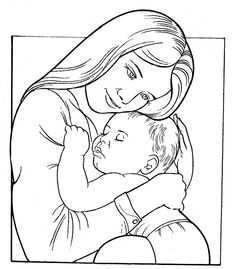 Precious Moments Baby Coloring Pages | Pinto Dibujos: Mamá y bebé para colorear