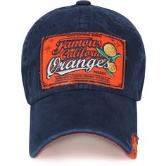 c7a195fd7d0 ililily Vintage Distressed 1985  California Orange  Curved Hat... ( 9.99) ❤  liked on Polyvore featuring accessories