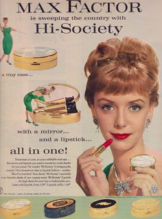 1959 Max Factor ad was high end with some, really middle of the road. It got its start as makeup for actors and acctresses. Vintage Makeup Ads, Retro Makeup, Vintage Vanity, Vintage Glamour, Vintage Beauty, Vintage Ads, Vintage Images, Vintage Fashion, 1950s Makeup
