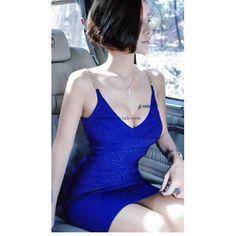 Herve Leger Blue Metallic Detail Halter Bandage Dress HL072811B(7 colors)