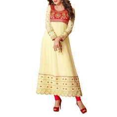 Cream, gold and Red, a classic combination for Indian wear! #ohnineone http://www.ohnineone.com/cream-anarkali-10087