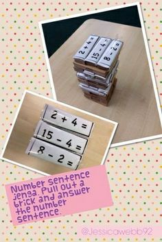 Number sentence jenga. Pull out a brick and work out the number sentence.