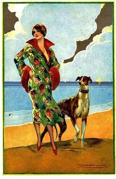Flapper in Floral Dress w Dog Tito Corbella
