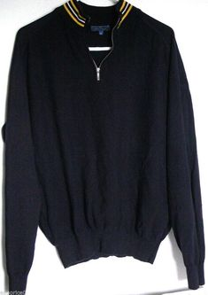 5900d6220fe Faconnable Half Zip Pullover XL Blue Cotton Sweater Long Sleeves Made in  Italy  Faconnable