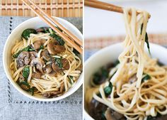 Mushroom-Spinach-garlic-noodle