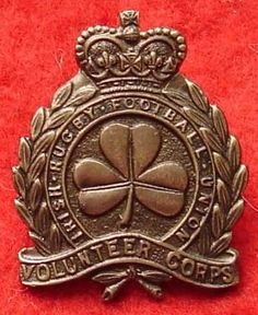 Excellent brass badge of the (Dublin) Irish Rugby Football Union.This was raised in WW1.You can read about this volunteer unit on page 409 in Kipling & Kings book 1.It comes under the Irish association of volunteer corps Dublin.