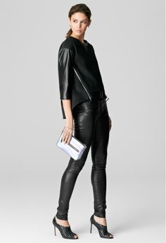 NORA LEATHER SLEEVE PULLOVER....need it