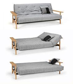 Innovation Balder sofa bed. Материалы: стальной каркас, ножки из массива дерева, текстиль. Размер: спальное место - 140х200 см, диван - Ш230хГ97хВ92(с43) см.