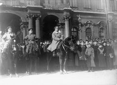 RUSSIAN REVOLUTION OVERTHROW TSAR MARCH 1917 (HU 52726)   The Commander in Chief of the Provisional Government, General Kornilov, mounted on his horse, beside other officers of the Russian Army.
