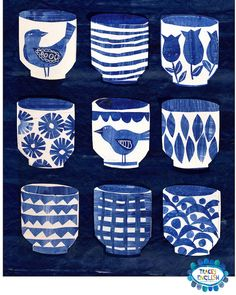 Indigo Cups by Tracey English www.tracey-English.co.uk