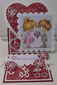 ink'n'rubba Don and Daisy stamp coloured with Copics, die cuts and paper by Marianne Design