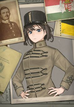 Kingdom of Hungary - Kaiserreich Anime Military, Military Girl, Character Inspiration, Character Art, Character Design, Guerra Anime, Military Archives, Valkyria Chronicles, Alternate History