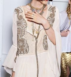 NEW FREE PEOPLE $168 Bell Sleeve Tunic Embroidered Bohemian Swingy V Top Medium #FreePeople #Tunic #Casual