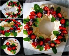 I love the idea of baking a pavlova in a ring instead of a circle - so much easier to cut! But turning it into a Christmas Berry Wreath Pavlova is genius! Christmas Lunch, Christmas Cooking, Noel Christmas, Christmas Desserts, Christmas Treats, Father Christmas, Anna Pavlova, Christmas Pavlova, Candy Cane Christmas