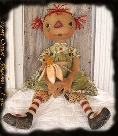 Primitive E-PATTERN Raggedy Doll Posey Ann with Daisy Flower PDF via Etsy