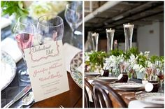 Great menus and I love the table & centerpeice decor...always a fan of water+glass+light.  -kwa
