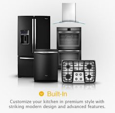 I think I am liking the look of black appliances better than stainless steel -- plus we can still use magnets on it, unlike stainless. Probably looks cleaner than our weary white appliances look. Whirlpool® Appliances Ice Collection - in Black with Stainless Steel accents.