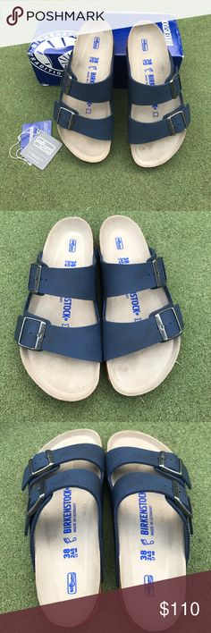 Birkenstock Arizona Navy 38 Regular Birkenstock Arizona 38 Regular.  Desert Soil Blue.  Soft Footbed.  Navy uppers, orange soles!   Gorgeous combo.  BIrko Flor.  NWT.  Great with socks in the Fall/Winter!!   Comes with box.  No TRADES!!!!   Price is firm as these are brand new in box. Birkenstock Shoes Sandals