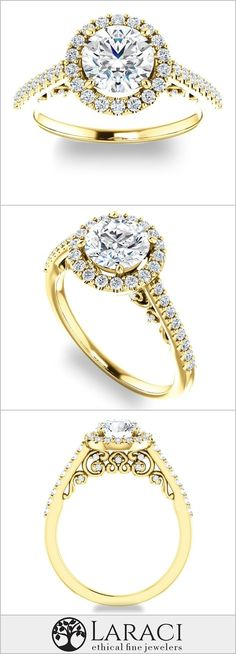 Yellow Gold Halo Engagement Ring With Accents set with a Round Forever Brilliant Petite Engagement Ring, Heart Shaped Engagement Rings, Vintage Inspired Engagement Rings, Halo Engagement Rings, Womens Wedding Bands, Wedding Ring Bands, Bridal Rings, Thing 1, Moissanite